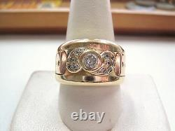 Heavy Vntg 14K Yellow GOLD Signet RING with Rose gold accents & CZs size 10.25 Men