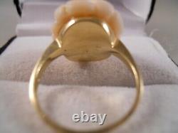 Heavy Wide 14k Yellow Gold Pink Angel Skin Coral Rose Flower Art Deco Ring Sz 6