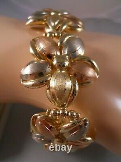 Heavy Wide 14k Yellow Gold Rose Gold Plumeria Rose Flower Diamond Cut Bracelet