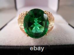 Heavy Wide Coleman 10k Yellow Rose Gold Black Hills Gold Green Cz Flower Ring