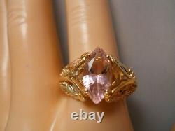 Heavy Wide Coleman 10k Yellow Rose Gold Black Hills Gold Pink Cz Flower Ring 10
