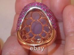 Heavy huge designer GJR 18k Rose Gold 33.55ct chalcedony diamond ruby ring 20.2g