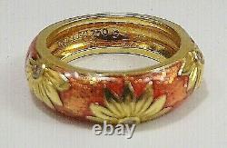 Hidalgo 18k Yellow Gold With Rose Colors & Flower Diamonds 10 Gr Heavy Sz 6 Ring
