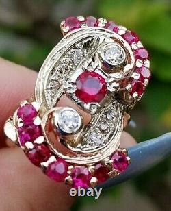 Huge Vintage Ruby Diamond Heavy 14.8 Grams 14k Rose gold band