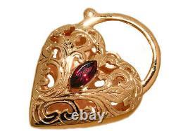 K021 Superb LARGE Heavy 9K Yellow, Rose Gold Natural Garnet Heart PADLOCK Clasp