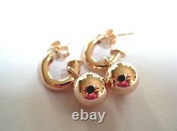 Kaedesigns Genuine Heavy 9Kt 9ct Rose Gold 14mm Belcher Ball Drop Earrings