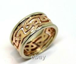 Kaedesigns, Genuine Heavy Solid New 9ct Rose & White Gold 12mm Large Celtic Ring
