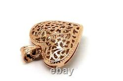 Kaedesigns New Heavy 9ct Rose Gold Medium Filigree Heart Pendant