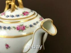 L Bernardaud Limoges Fontenay Pink Roses Teapot Heavy Gold Handle 5 1/2'' 28oz