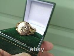 LARGE HEAVY 9ct Rose Gold Diamond Retro Signet Ring h/m 1913 size Z+1 / Z+2