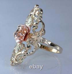 Landstroms Black Hills Gold 10K Tri Color Gold Flower Rose Ladies Ring s6 Heavy