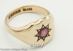 Large heavy antique Art Deco rose gold amethyst signet ring 9ct 8.8 g size S