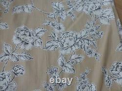 Laura Ashley Summer Rose Charcoal Gold & Cream heavy Linen Curtains 64 w x 88