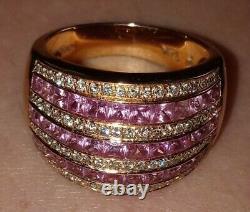 Levian 14k Pink Sapphire & Diamond Rose Gold Heavy Ring