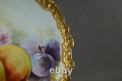 Limoges Hand Painted Signed Laurey Pink Roses Fruit Heavy Gold 10 3/8 Inch Plate