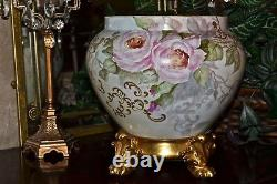 Limoges Jardiniere Pink/White Roses Heavy Gold and Gold Encrusted Plinth
