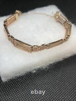 Lovely 9CT 5 Bar Rose Gold 6.1/4 Gate Bracelet With Safety Chain Heavy 12.25g