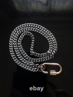 Marla Aaron 14K Rose Gold Medium Lock & 16 Silver Heavy Curb Chain Necklace