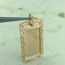 Men's 14k Solid Heavy 23.8 Grams Rose Gold 3/4 CT Diamond Army Dog Tag Pendant