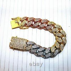 Mens Heavy Tri Color Curb link Bracelet 8 length 18ct Rose 24ct Gold Plated Cz