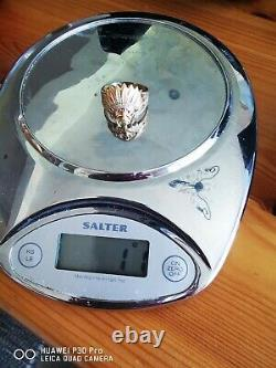 Mens red indian chief 14k Heavy Ring 11g yellow, rose white gold gemstone size Z