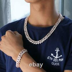 Miami Cuban Link Bracelet Chain Hip Hop Heavy Rose Gold Plated Iced CZ for Men