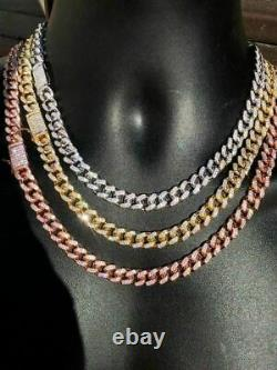 Miami Cuban Link Chain Solid 925 Silver W. Rose Yellow Gold Plating 10mm HEAVY