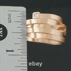 Modernist Heavy Solid 18K Rose Gold & Diamond Estate Twisted Overlap Ring