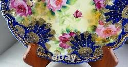 Nippon Cobalt & Heavy Gold Large Roses Large Antique Porcelain Serving Bowl