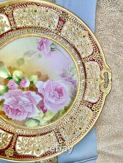 Nippon Hand Painted Beaded Heavy Gold Jeweled Cabbage Rose Cabinet Plate 10.5