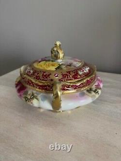 Nippon Hand Painted Large Roses Heavy Gold Beaded Lidded Dish Jar 9 Beautiful