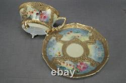 Nippon Hand Painted Pink & Yellow Rose Heavy Raised Gold Tea Cup & Saucer