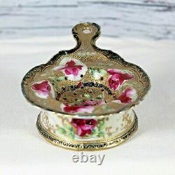 Nippon Hand Painted Tea Strainer and Base Roses Heavy Gold Trim Antique China
