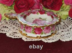 Old English Rose style Tea Strainer & Bowl Cabbage Roses 24kt heavy gold Rare