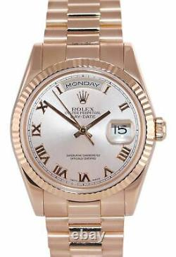 PAPERS Rolex President Day Date Rose Gold Pink Roman 118235 Heavy Band Watch Box