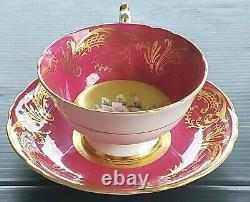PARAGON Cabbage Rose Floating Center Antique Teacup & Saucer Set Heavy Gold