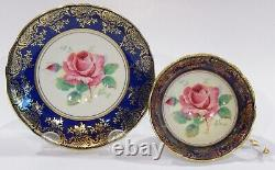 PARAGON FLOATING PINK ROSE CUP & SAUCER Cobalt Heavy Gold Gilding c1938-52 AS IS