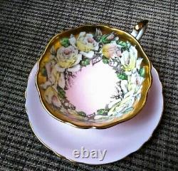 PARAGON Lovely Rose Garland on pink Teacup & Saucer Heavy Gold