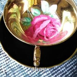 Paragon Black Teacup & Saucer Floating Red Cabbage Rose on Heavy Gold Bowl