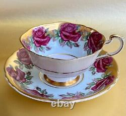 Paragon Cabbage Roses Double Warrant Heavy Gold Powder Blue Tea Cup and Saucer