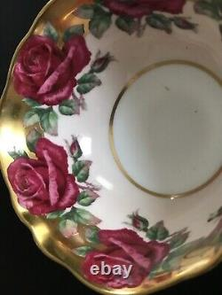 Paragon Double W Cabbage Rose Garland Tea Cup only heavy gold pink scalloped