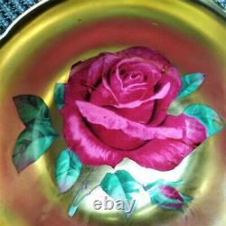 Paragon Gold Gilding Black Teacup & Saucer Floating Red Cabbage Rose Heavy Gold