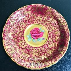 Paragon Gold Gilding Pink Teacup & Saucer Floating Red Cabbage Rose Heavy Gold