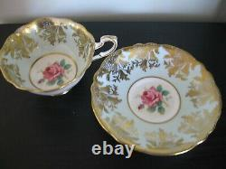 Paragon Lt Blue Pink Rose Bottom Heavy Gold Tea Cup And Saucer