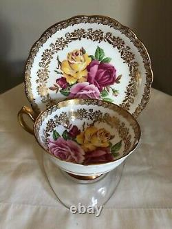 Paragon Tea Cup Saucer 3 Large Cabbage Roses Red Pink Yellow Heavy Gold