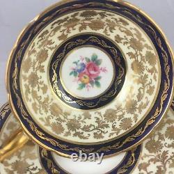 Paragon Teacup Cup & Saucer Blue Gold Heavy Gilt Cobalt Gorgeous! Rose Floral