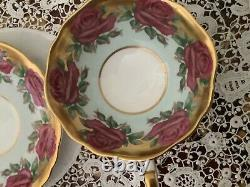 Paragon teacup saucer Double Warrant/red cabbage rose mint green/heavy gold gilt