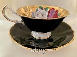Queen Anne FLOATING ROSES on HEAVY GOLD Tea Cup and Saucer