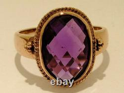 R277 Genuine 9ct Solid Heavy ROSE Gold Large Natural Oval Amethyst Ring size N