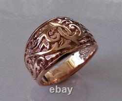 R300 Genuine Heavy 9K 9ct Solid Rose Gold Etched Engraved 14mm WIDE Band Ring